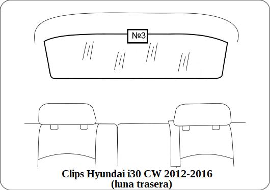 Clips Hyundai i30 CW 2012 2016 luna trasera