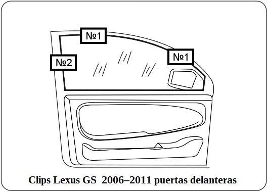 Clips Lexus GS 2006–2011 puertas delanteras