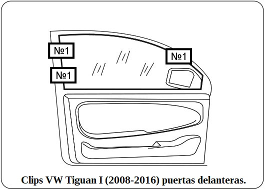 clips vw tiguan l 2008 2016 puertas delanteras.